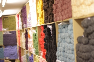 Wall of yarn at Jamieson & Smith