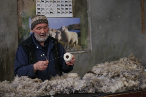 Oliver Henry at Jamieson & Smith, demonstrating the fineness of the fleece needed to produce 1-ply laceweight yarn